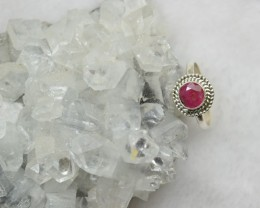 NATURAL RUBY RING 925 STERLING SILVER JE254 treated