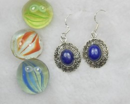 NATURAL UNTREATED LAPIS LAZULI EARRINGS 925 STERLING SILVER JE255