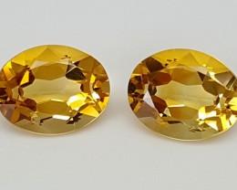 3.25Crt Maderia Citrine Pair Best Grade Gemstones JI72