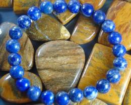 110.60 ct Natural Intense Beautiful lapiz lazuli Beads beacelet