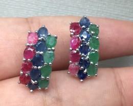 ( B4) Brilliant Nat 31.6tcw. Emerald Sapphire & Ruby Earrings