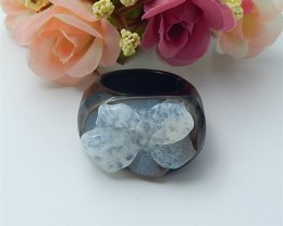 81ct Hot Sale Natural Stripe Agate Carving Flower Ring,Elegant Jewerly Acce