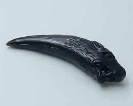 56ct New Design Natural Rainbow Obsidian Carved Wolf Tooth Pendant (1807090
