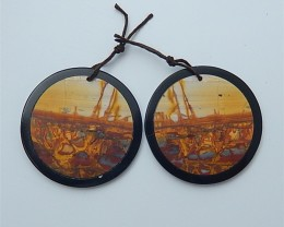 92.5ct New Arrival Natural Picture Jasper And Obsidian Intarsia Earring Pai