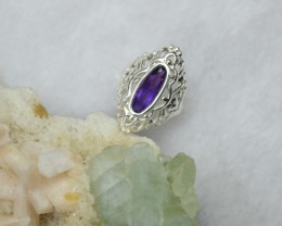NATURAL UNTREATED AMETHYST RING 925 STERLING SILVER JE257