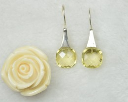 NATURAL UNTREATED CITRINE EARRINGS 925 STERLING SILVER JE265