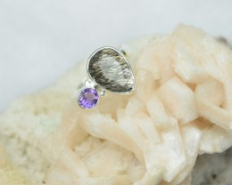 NATURAL UNTREATED AMETHYST RING 925 STERLING SILVER JE266