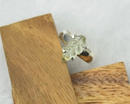 NATURAL UNTREATED CARVED PERIDOT RING 925 STERLING SILVER JE272