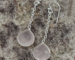 NATURAL UNTREATED ROSE QUARTZ EARRINGS 925 STERLING SILVER JE274