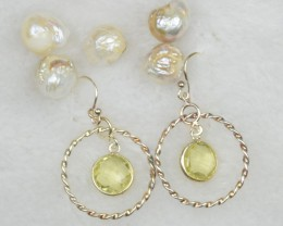 NATURAL UNTREATED PERIDOT EARRINGS 925 STERLING SILVER JE277