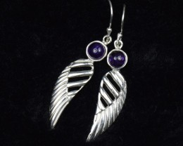 NATURAL UNTREATED AMETHYST EARRINGS 925 STERLING SILVER JE280