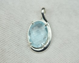 NATURAL UNTREATED BLUE TOPAZ PENDANT 925 STERLING SILVER JE282