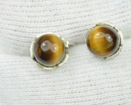 NATURAL UNTREATED TIGER EYE EARRINGS 925 STERLING SILVER JE283