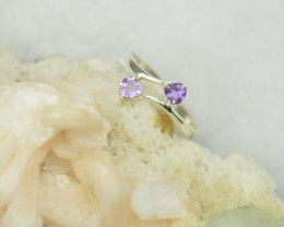 NATURAL UNTREATED AMETHYST RING 925 STERLING SILVER JE284