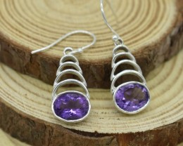 NATURAL UNTREATED AMETHYST EARRINGS 925 STERLING SILVER JE292