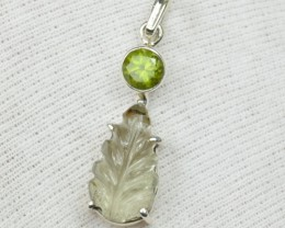 NATURAL UNTREATED PERIDOT PENDANT 925 STERLING SILVER JE288