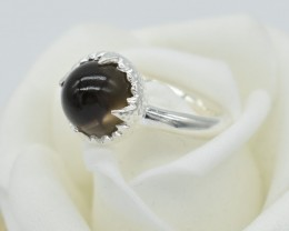 NATURAL UNTREATED SMOKY QUARTZ RING 925 STERLING SILVER JE287
