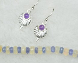NATURAL UNTREATED AMETHYST EARRINGS 925 STERLING SILVER JE286