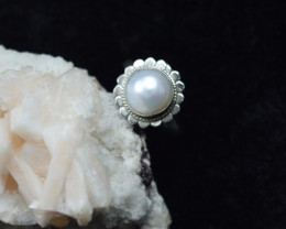 NATURAL UNTREATED PEARL RING 925 STERLING SILVER JE290