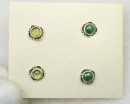 NATURAL UNTREATED MALACHITE+PREHNITE EARRINGS 925 STERLING SILVER JE295