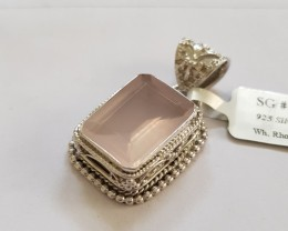 Rose quartz 925 Sterling silver pendant #34195