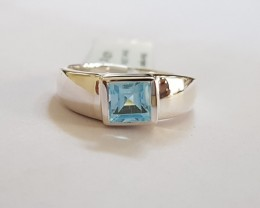 Blue topaz 925 Sterling silver ring #313