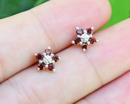 N/R Natural Garnet Rhodolite  925 Sterling Silver Earrings (SSE0398)