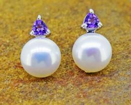 N/R Pearl & Amethyst  925 Sterling Silver Earrings (SSE0399)