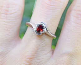 N/R Natural Garnet  925 Sterling Silver Ring (SSR0391)
