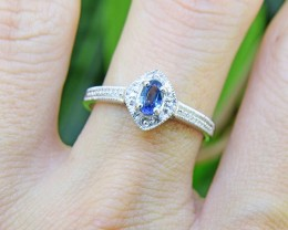 N/R Blue Sapphire Natural  925 Sterling Silver Ring Size 7 (SSR0397)