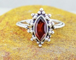 N/R Natural Hessonite Garnet  925 Sterling Silver Ring Size 6 (SSR0120)
