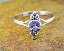 N/R Natural Amethyst 925 Sterling Silver Ring Size 7 (SSR0392)