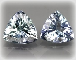 Sparkling Tanzanite Trilliant Cut Gem Pair - beautiful stones No reserve