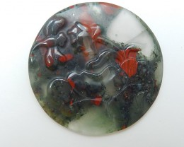 79ct On Sale Natural African Blood Stone Craved Flower Cabochon (18071101)