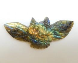 44ct Fashion Natural Labradorite Carved Owl Cabochon (18071106