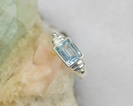 NATURAL UNTREATED BLUE TOPAZ RING 925 STERLING SILVER JE