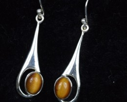 NATURAL UNTREATED TIGER EYE EARRINGS 925 STERLING SILVER  JE298