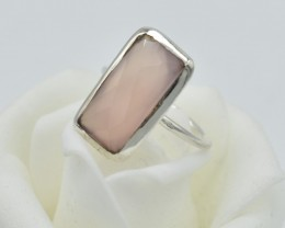 NATURAL UNTREATED ROSE QUARTZ RING 925 STERLING SILVER  JE299