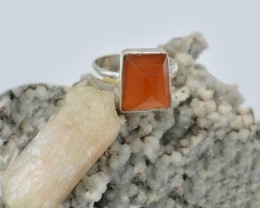 NATURAL UNTREATED CARNELIAN RING 925 STERLING SILVER JE305