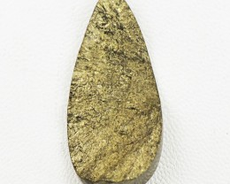 Genuine 29.00 Cts Pear Shape Golden Pyrite Druzy Gem