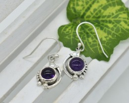 NATURAL UNTREATED AMETHYST EARRINGS 925 STERLING SILVER JE322