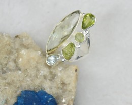 NATURAL UNTREATED PERIDOT RING 925 STERLING SILVER JE308