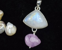 NATURAL UNTREATED RAINBOW MOONSTONE PENDANT 925 STERLING SILVER JE309