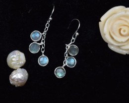 NATURAL UNTREATED LABRADORITE EARRINGS 925 STERLING SILVER JE310