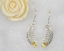 NATURAL UNTREATED CITRINE EARRINGS 925 STERLING SILVER JE313