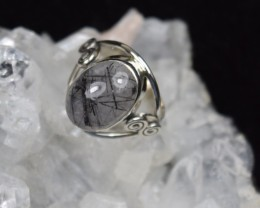 NATURAL UNTREATED RUTILATED QUARTZ RING 925 STERLING SILVER JE314