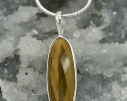 NATURAL UNTREATED TIGER EYE PENDANT 925 STERLING SILVER JE315