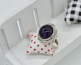 NATURAL UNTREATED AMETHYST RING 925 STERLING SILVER JE317