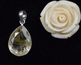 NATURAL UNTREATED RUTILATED QUARTZ PENDANT 925 STERLING SILVER JE318