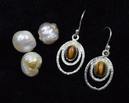 NATURAL UNTREATED TIGER EYE EARRINGS 925 STERLING SILVER JE319